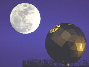 Moon Over Geodesic Dome, Designed by Steve Baer by John Dominis
