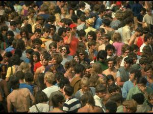 Overall of the Huge Crowd, During the Woodstock Music and Art Fair by John Dominis