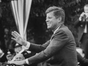 President John F. Kennedy, Waving at Crowd During Speech by John Dominis