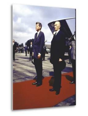 President Kennedy and Chancellor Adenauer Walking Red Carpet at Airport Arrival Ceremony, Germany by John Dominis