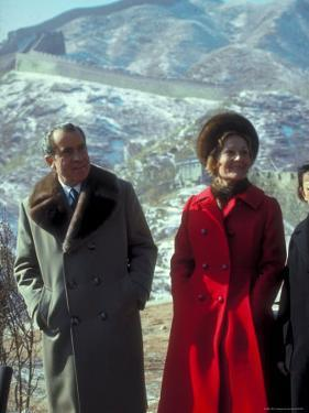 President Richard Nixon and First Lady Pat Nixon on the Great Wall of China by John Dominis