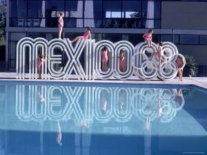 """School Children Playing on Olympic Logo """"Mexico 68"""" Beside Pool by John Dominis"""