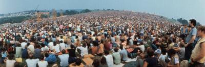 Seated Crowd Listening to Musicians Perform at Woodstock Music Festival