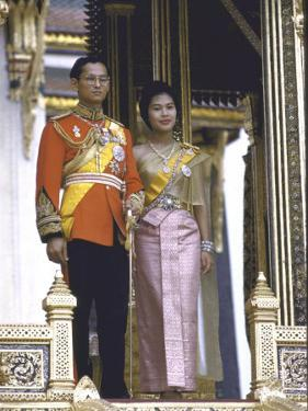 Thailand's King Bhumibol Adulyadej with Wife, Queen Sirikit at the Palace by John Dominis