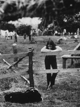 Young Girl Attending Woodstock Music Festival by John Dominis