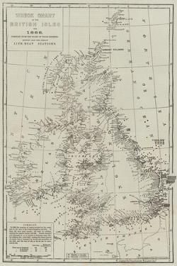 Wreck Chart of the British Isles for 1868 by John Dower