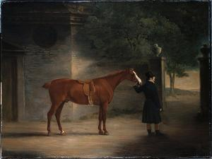A Hunter and a Groom in a Courtyard, 1816 by John E. Ferneley