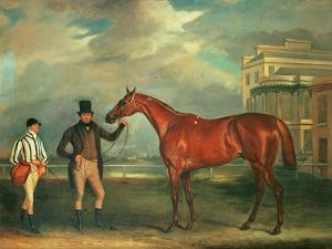 General Chasse, a Chestnut Racehorse Being Held by His Trainer, with His Jockey, J. Holmes by John E. Ferneley