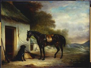 Mr. Stuart's Favourite Hunter, Vagabond' and His Flatcoated Retriever, Nell, by a Cottage Door by John E. Ferneley