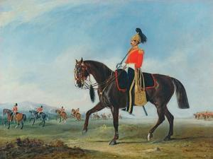 Portrait of an Officer of the 3rd Dragoon Guards with Other Members of the Regiment Beyond by John E. Ferneley