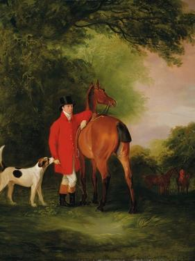 Portrait of Lord Lismore in a Hunting Coat with His Bay Hunter and a Hound, in a Landscape, a… by John E. Ferneley