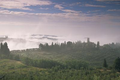 Early Morning View across Misty Hills, Near Certaldo, Tuscany, Italy, Europe