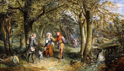 A Scene from 'As You Like It': Rosalind, Celia and Jacques in The Forest of Arden by John Edmund Buckley