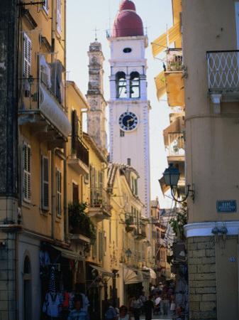 Apartment Buildings with St. Spyridon's Belltower Behind, Corfu Town, Greece by John Elk III