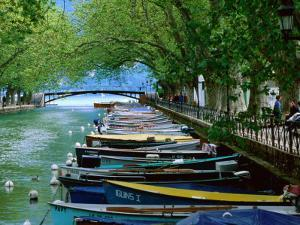 Boats on Canal du Vasse, Annecy, Rhone-Alpes, France by John Elk III