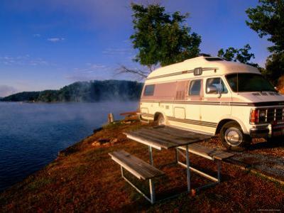 Campervan Parked Beside Lake, Ozark National Park, Missouri by John Elk III