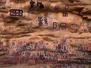 Circumcision Ceremonial Paintings on Cliff at Songo Village, Dogon Country, Mali by John Elk III