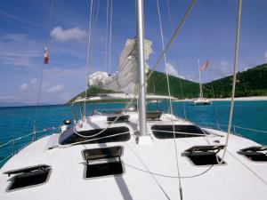 Deck, Mast and Rigging of Bare Boat Charter Catamaran, Tortola, Virgin Islands by John Elk III