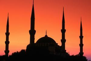 Dome and Minarets of Blue Mosque, Sultan Ahmet Camii, Istanbul, Turkey by John Elk III