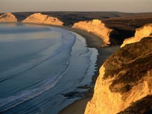 Drakes Beach and the Cliffs at Sunrise, Point Reyes National Seashore, California by John Elk III