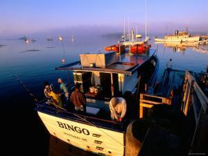Fishing Boats at Sunrise, Boothbay Harbor, Boothbay, Maine by John Elk III