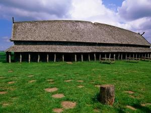 Longhouse in Stave Style at Viking Ring Fortress, Trelleborg, West Zealand, Denmark by John Elk III