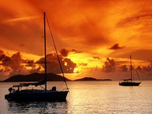 Moored Yachts at Sunset, Tortola, Virgin Islands by John Elk III