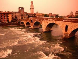 Ponte Di Pietra Over the Adige River, Verona, Italy by John Elk III