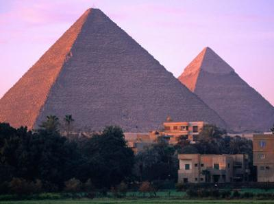Pyramids of Giza from North East at Sunrise, Giza, Egypt by John Elk III