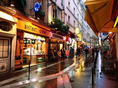 Qaurtier , Latin Quarter at Night, Rue de la Huchette, Paris, Ile-De-France, France