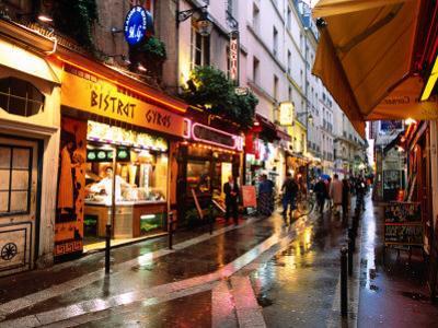 Qaurtier , Latin Quarter at Night, Rue de la Huchette, Paris, Ile-De-France, France by John Elk III