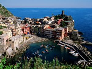 Vernazza and Harbour, Cinque Terre, Liguria, Italy by John Elk III