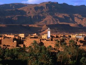 Village of Tinerhir on Banks of River Todra, Todra Gorge, Morocco by John Elk III
