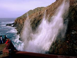Visitors Watching La Bufadora Sea Spout, Ensenada, Baja California, Mexico by John Elk III