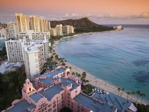 Waikiki Beach with Royal Hawaiian Hotel and Diamond Head at Sunset, Oahu, Hawaii by John Elk III