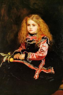 A Souvenir of Velasquez - a Little Girl with a Lemon Sprig by John Everett Millais