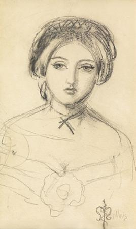 An English Beauty in the Manner of John Leech, C.1853 (Pencil on Paper)