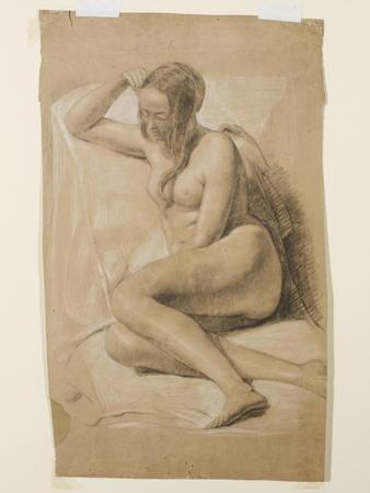 Seated Female Nude, 1847 (Black and White Chalk on Brown Paper)