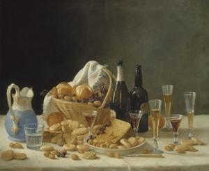 Still Life with Wine Bottles and Basket of Fruit, c.1857 by John F. Francis