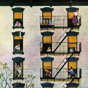 """Apartment Clarinetist"", April 19, 1958 by John Falter"
