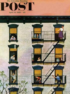 """Apartment Clarinetist"" Saturday Evening Post Cover, April 19, 1958 by John Falter"