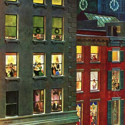 """""""Apartment Dwellers on New Year's Eve,"""" January 3, 1948 by John Falter"""