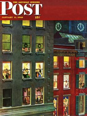 """Apartment Dwellers on New Year's Eve,"" Saturday Evening Post Cover, January 3, 1948 by John Falter"