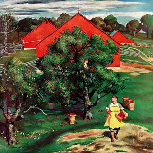 """""""Apple Picking Time,"""" September 27, 1947 by John Falter"""