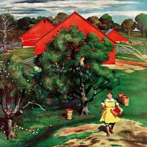 """Apple Picking Time,"" September 27, 1947 by John Falter"