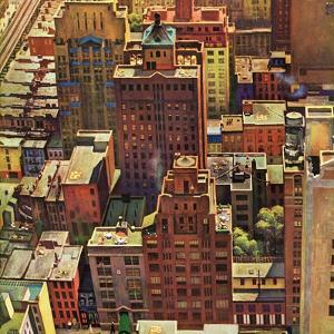 """Bird's-Eye View of New York City,"" August 17, 1946 by John Falter"