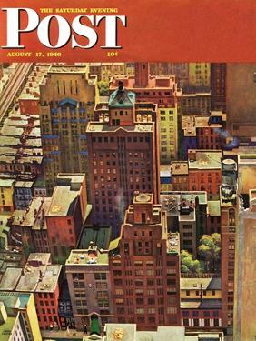 """""""Bird's-Eye View of New York City,"""" Saturday Evening Post Cover, August 17, 1946 by John Falter"""