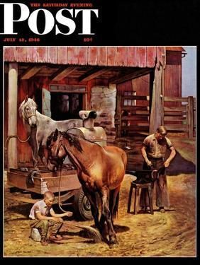 """Blacksmith,"" Saturday Evening Post Cover, July 13, 1946 by John Falter"