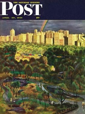 """Central Park Rainbow,"" Saturday Evening Post Cover, April 30, 1949 by John Falter"