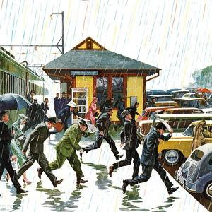 """""""Commuters in the Rain,"""" October 7, 1961 by John Falter"""